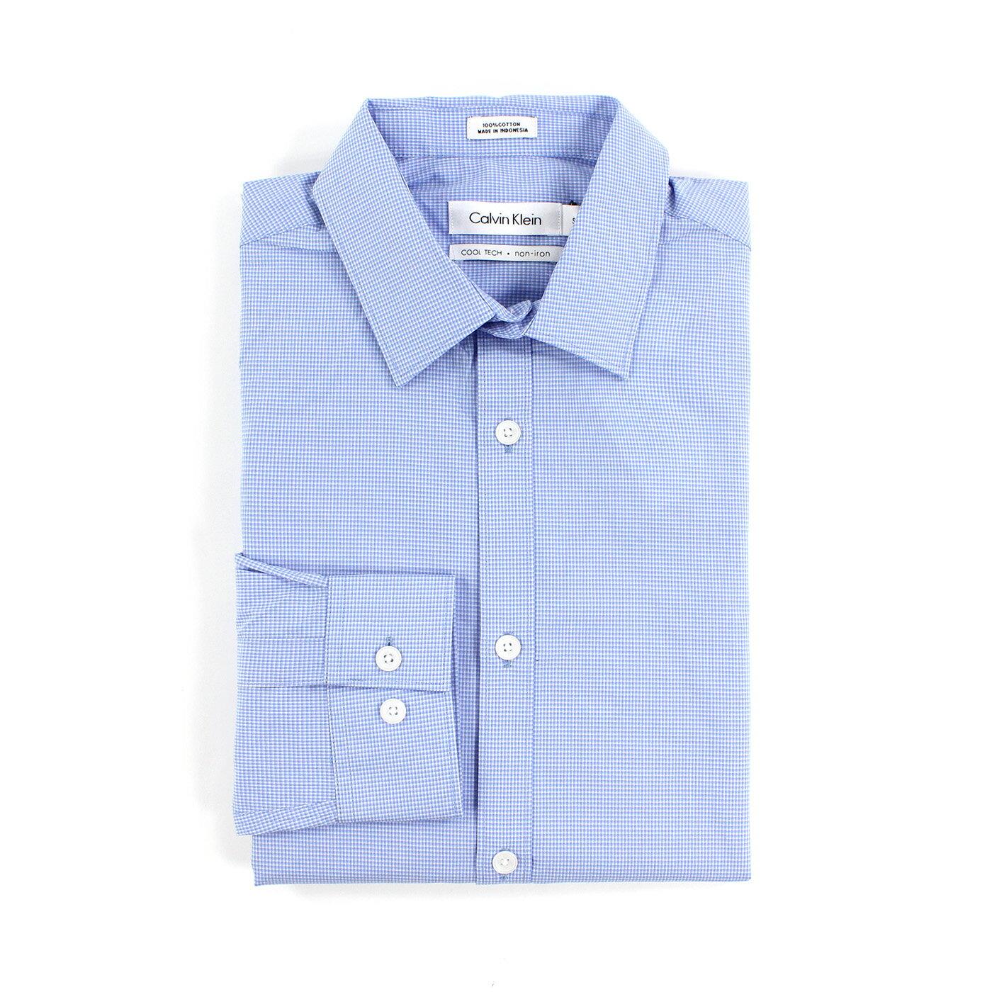 美國百分百【全新真品】Calvin Klein 襯衫 CK 男衣 上班 長袖 上衣 商務 格紋 水藍 S號 F707