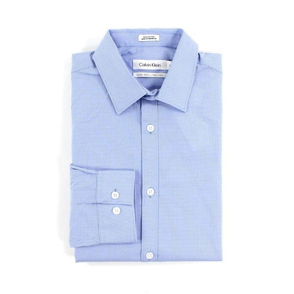 美國百分百:美國百分百【全新真品】CalvinKlein襯衫CK男衣上班長袖上衣商務格紋水藍S號F707