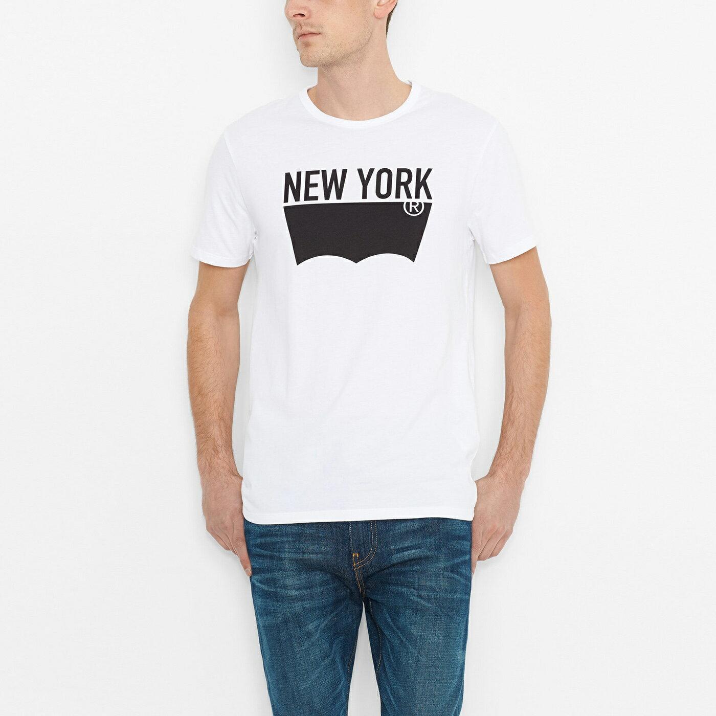 美國百分百【全新真品】Levis 短袖 T恤 logo 男 T-shirt 上衣 經典 NYC 短T 白 S號 F747