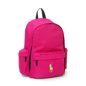 美國百分百【Ralph Lauren】後背包 RL 男 女 polo 桃紅色 學生包 背包 書包 帆布 大馬 F764