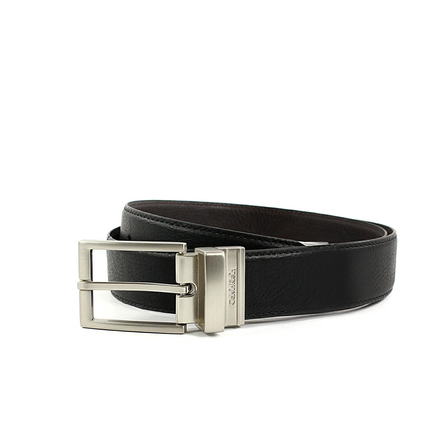 美國百分百【Calvin Klein】CK 男 真皮 皮帶 兩用 腰帶 2way 黑色 霧面拉絲皮帶頭 配件 38 40 42腰 F768