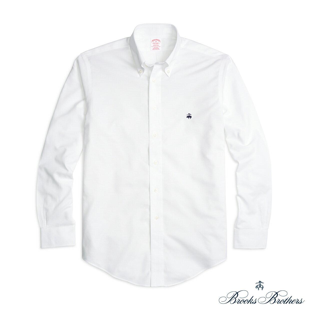美國百分百【全新真品】Brooks Brothers 布克兄弟 牛津 襯衫 長袖 休閒 上衣 白色 S號 F772