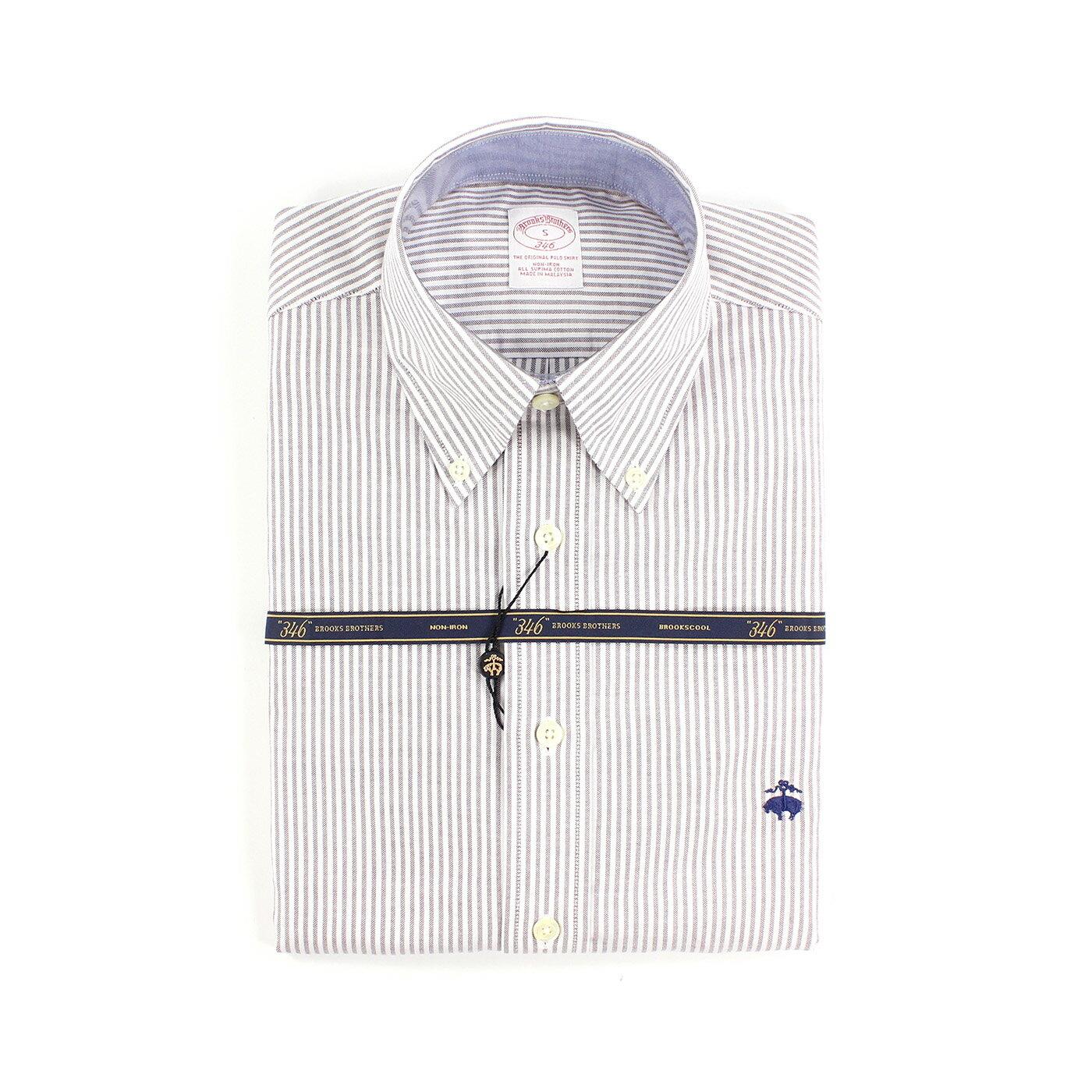 美國百分百【全新真品】Brooks Brothers 布克兄弟 牛津 襯衫 條紋 長袖 上衣 淺咖啡色 S號 F773