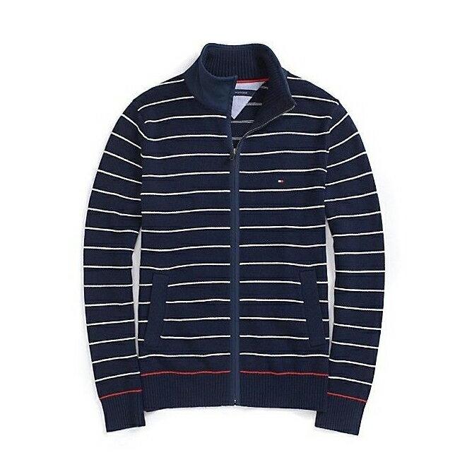 美國百分百【全新真品】Tommy Hilfiger 外套 針織衫 TH 線衫 毛衣 立領 條紋 深藍 S號 F774