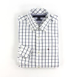 美國百分百【全新真品】Tommy Hilfiger 襯衫 TH 男 上班 長袖 休閒 格紋 深藍 白 XS S F775