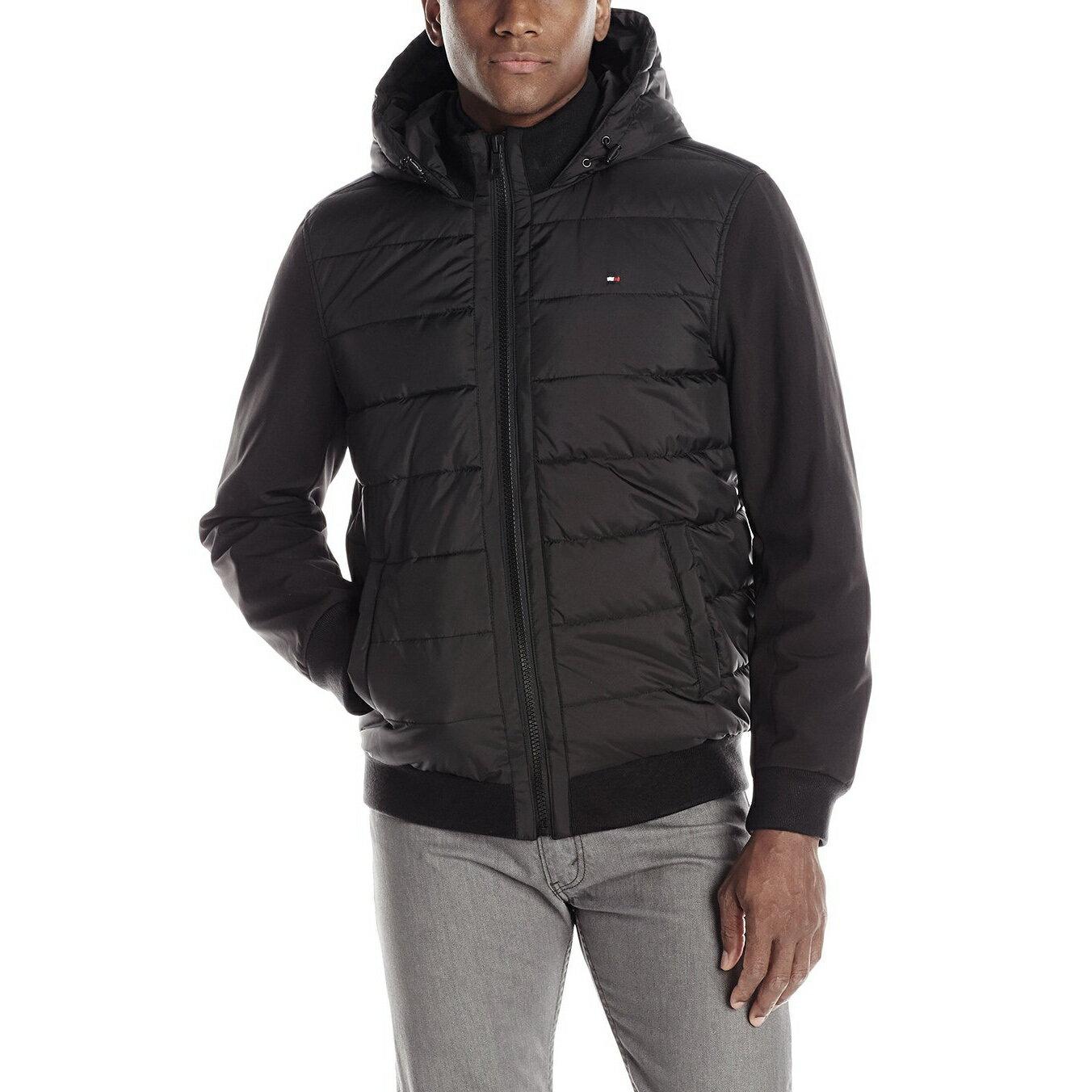 美國百分百【全新真品】Tommy Hilfiger 外套 連帽 夾克 中空纖維 TH 透氣 保暖 黑色 M號 F781