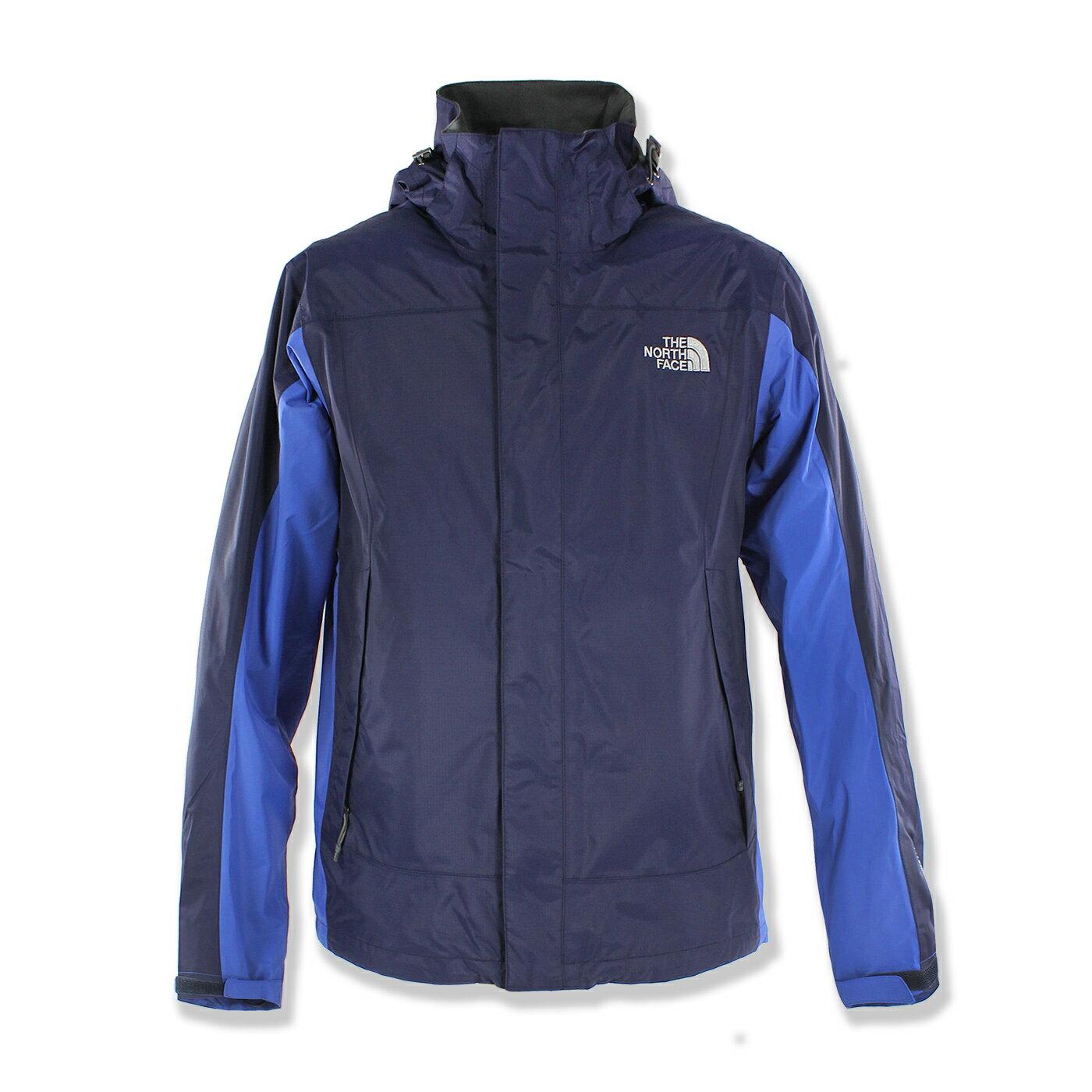 美國百分百【The North Face】防風 連帽 外套 TNF 防水 保暖 防寒 北臉 單件 深藍 S號 F787