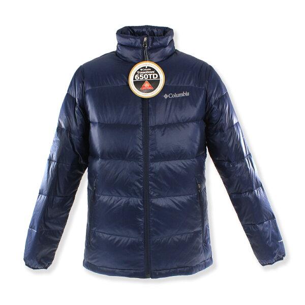 美國百分百:美國百分百【全新真品】Columbia外套哥倫比亞羽絨發熱OMNI-HEAT保暖深藍S號F798