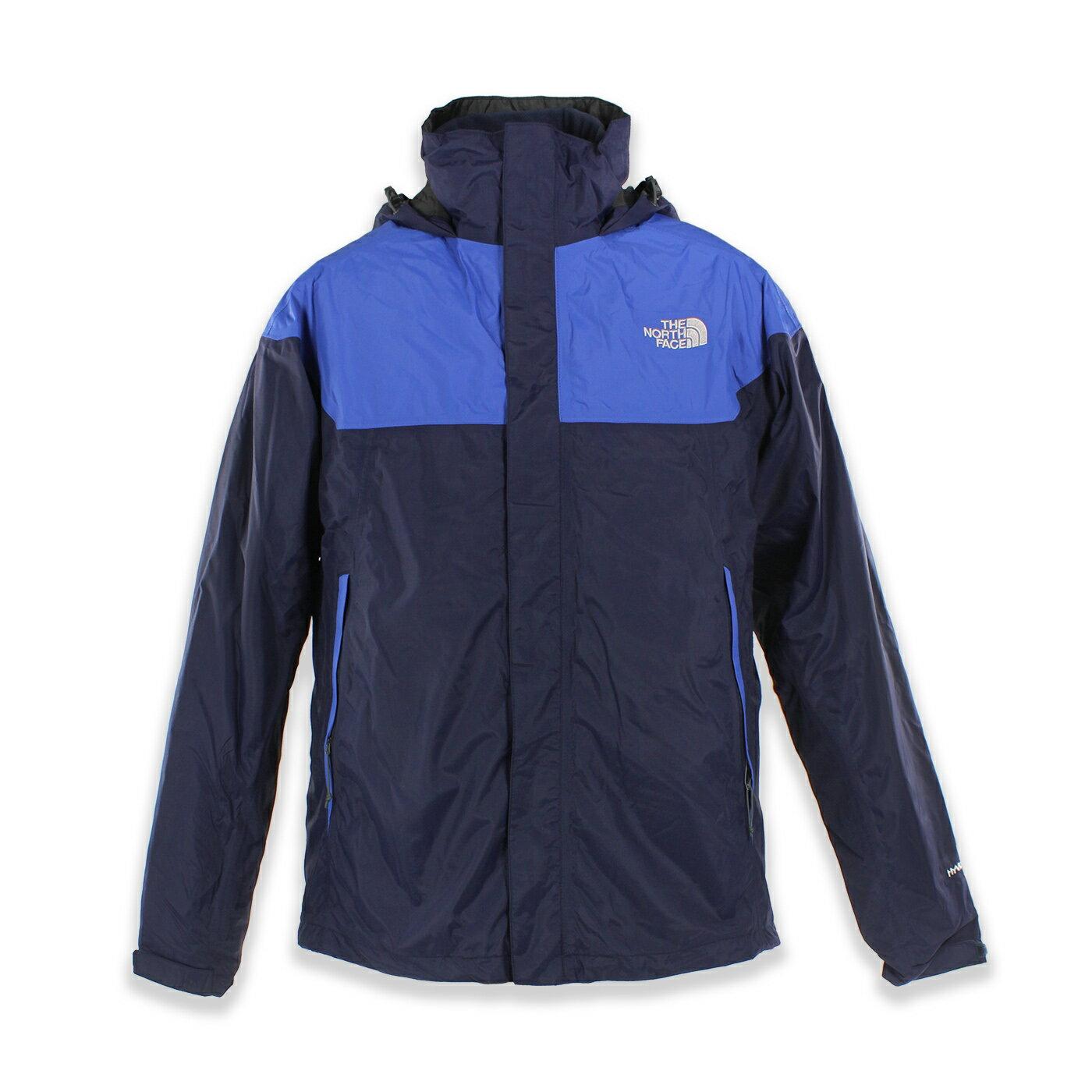美國百分百【The North Face】防風 連帽 外套 TNF 防水 保暖 刷毛 兩件式 北臉 深藍 S號 F799