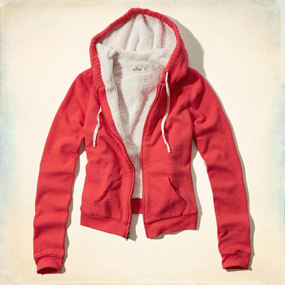 美國百分百【全新真品】Hollister Co. 外套 HCO 連帽 長袖 夾克 海鷗 刷毛 紅色 女 特價 S L號 F801