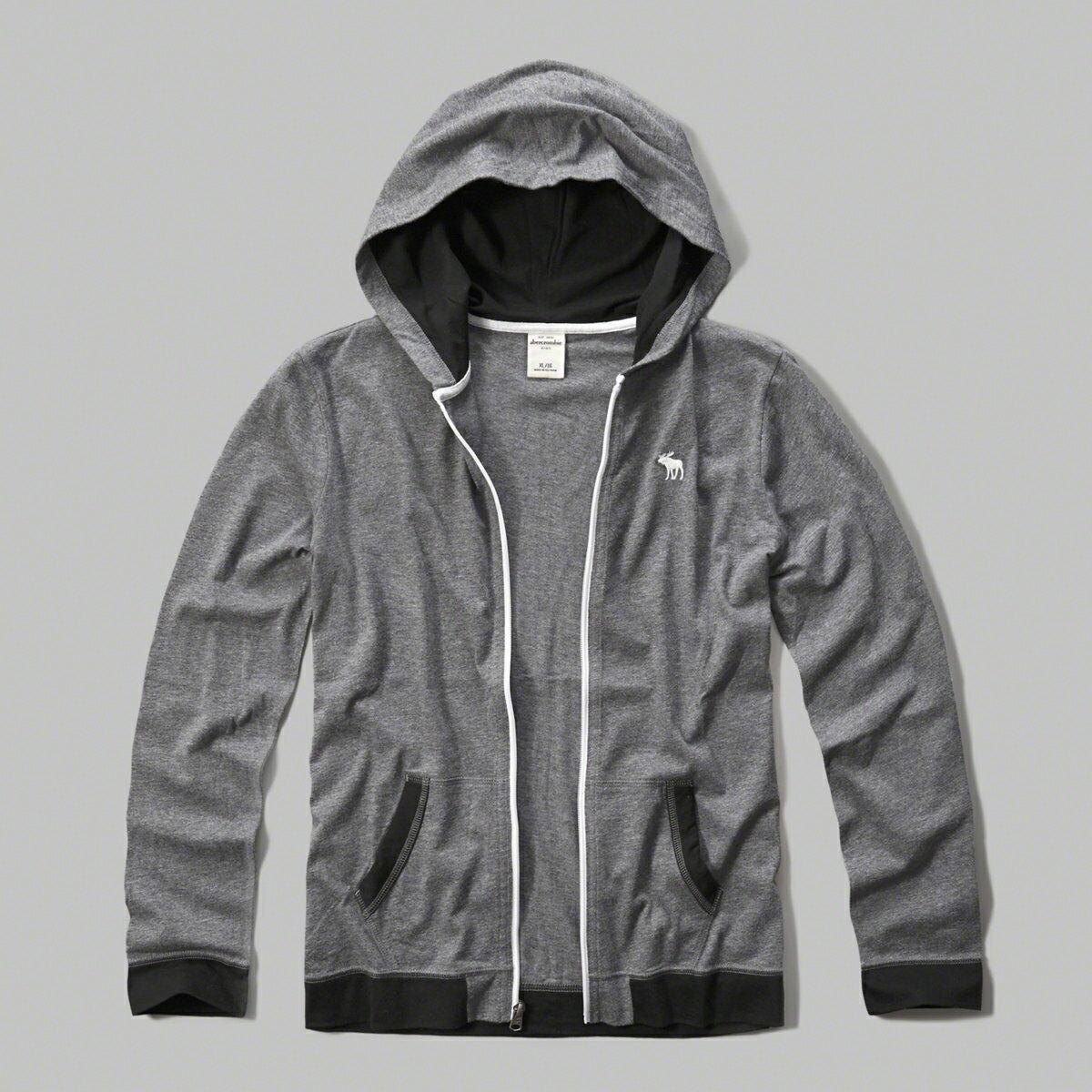 美國百分百【Abercrombie & Fitch】外套 AF 連帽 長袖 夾克 麋鹿 灰 滾邊 男 女 特價 S號 F802