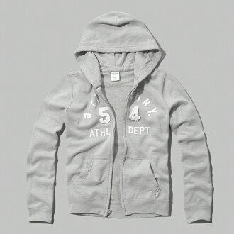 美國百分百【Abercrombie & Fitch】外套 AF 連帽 長袖 夾克 麋鹿 淺灰 男 女 S 特價 F803