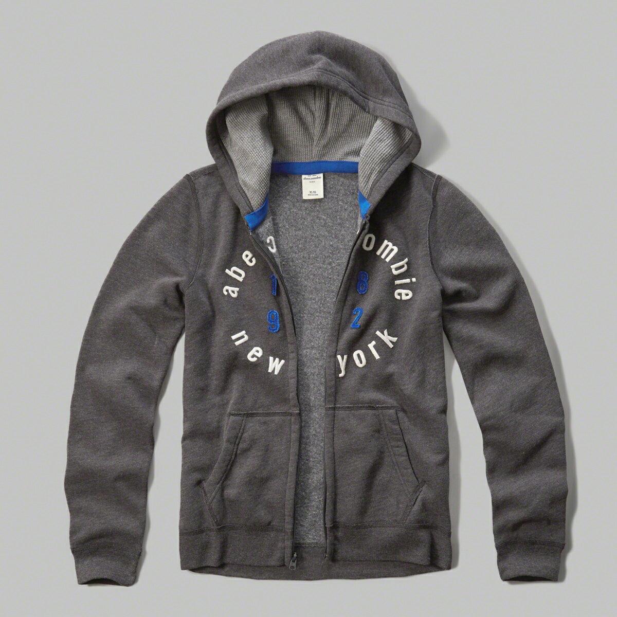 美國百分百【Abercrombie & Fitch】外套 AF 連帽 長袖 夾克 麋鹿 深灰 男 女 S號 特價 F805