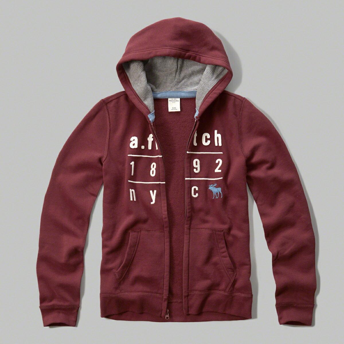 美國百分百【Abercrombie & Fitch】外套 AF 連帽 長袖 夾克 麋鹿 酒紅 男 女 特價 XS S號 F807