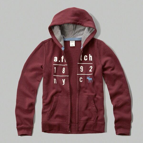 美國百分百:美國百分百【Abercrombie&Fitch】外套AF連帽長袖夾克麋鹿酒紅男女特價XSS號F807