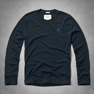 美國百分百【Abercrombie & Fitch】T恤 AF 長袖 T-shirt 麋鹿 素面 深藍 特價 S M XXL號 F814