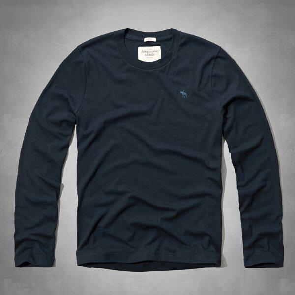 美國百分百:美國百分百【Abercrombie&Fitch】T恤AF長袖T-shirt麋鹿素面深藍特價SMXXL號F814
