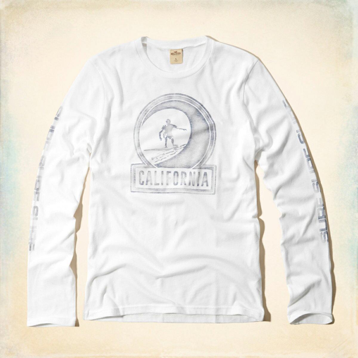 美國百分百【Hollister Co.】T恤 HCO 長袖 T-shirt 長T 上衣 海鷗 加州 衝浪 白色 M XL號 F817
