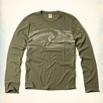 美國百分百【Hollister Co.】T恤 HCO 長袖 T-shirt 長T 上衣 海鷗 海浪 衝浪 黃綠 M L號 F819