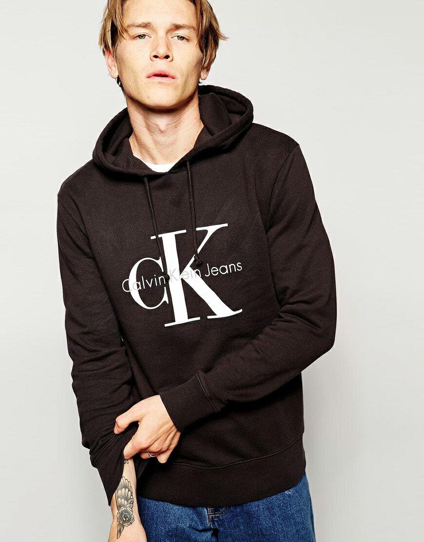 美國百分百【全新真品】Calvin Klein 帽T CK 長袖 連帽 上衣 經典 logo 黑色 S號 F820