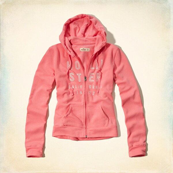 美國百分百:美國百分百【全新真品】HollisterCo.外套HCO連帽長袖夾克海鷗刷毛粉紅色女特價M號F823