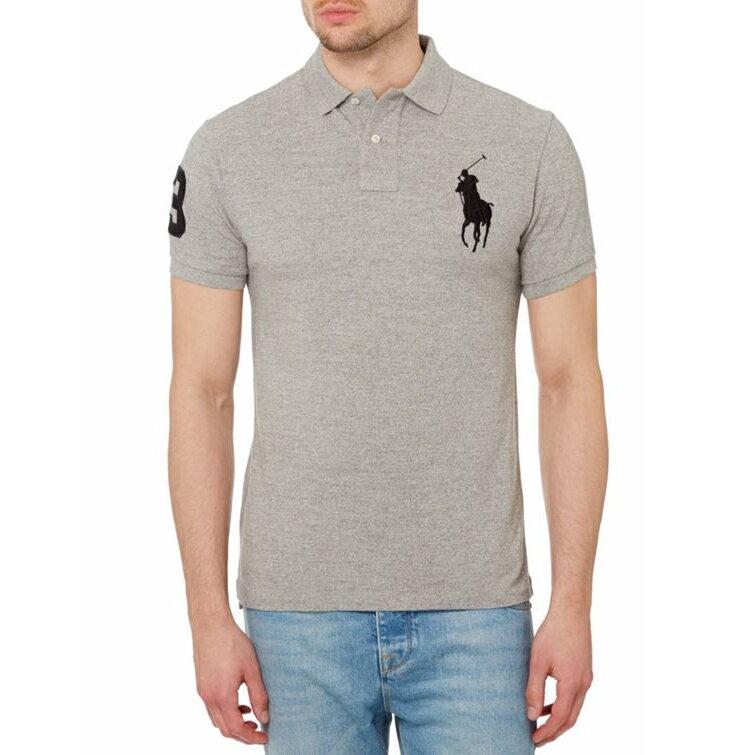 美國百分百【全新真品】Ralph Lauren Polo衫 RL 短袖 網眼 大馬 素面 灰色 黑馬 男 女 XXS XS號 B003