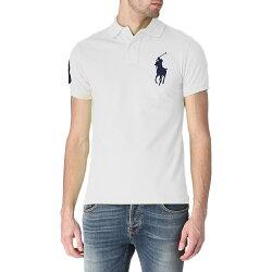 美國百分百【全新真品】Ralph Lauren Polo衫 RL 短袖 網眼 大馬 素面 白色 深藍馬 男 女 XXS XS號 B003
