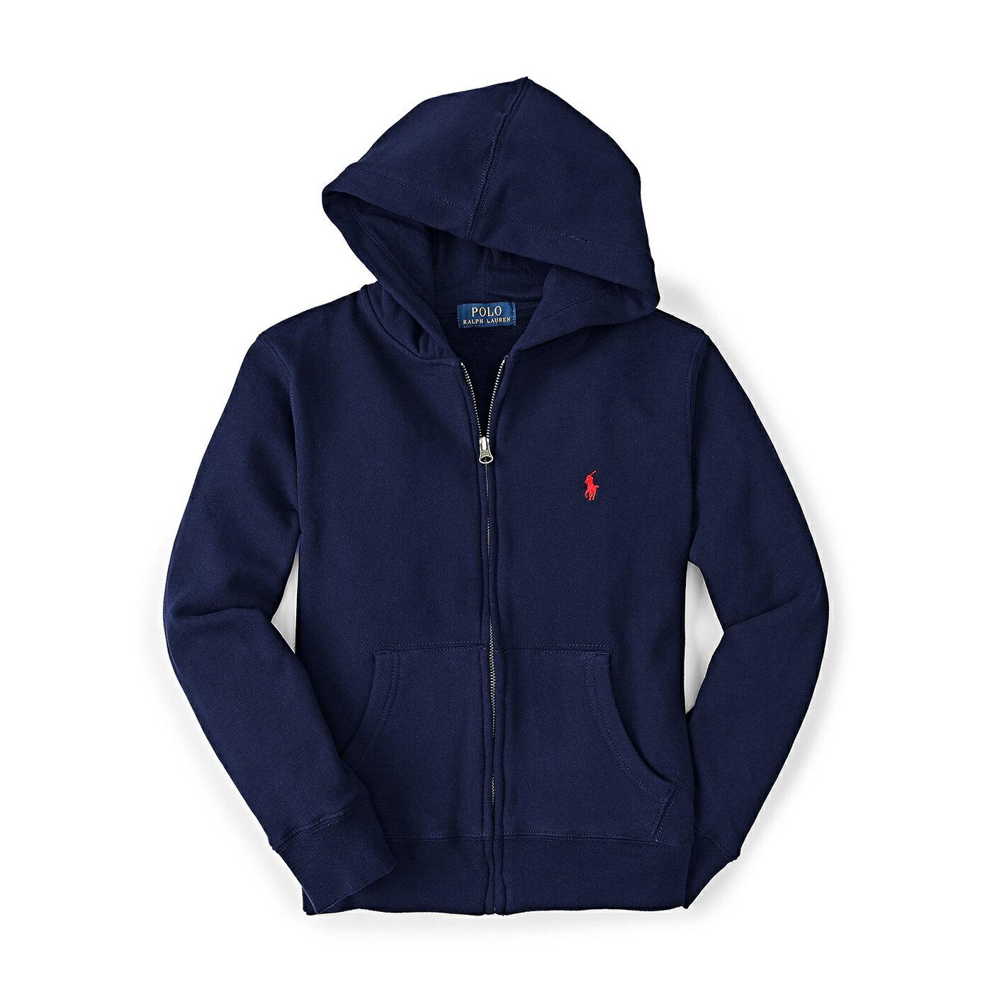 美國百分百【Ralph Lauren】RL 外套 男款 連帽 夾克 棉質 帽T 深藍 上衣 POLO XS S號 B038