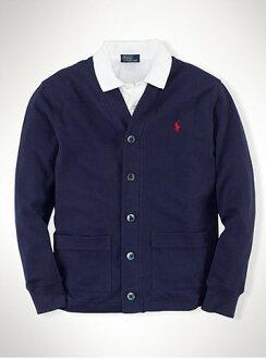 美國百分百【全新真品】Ralph Lauren 針織衫 RL 網眼 開釦 罩衫 POLO 深藍色 外套 S號 B572