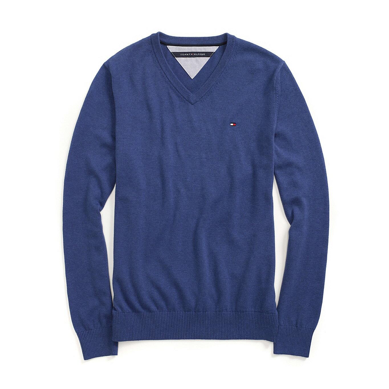 美國百分百【全新真品】Tommy Hilfiger V領 素面 TH 純棉毛衣 針織衫 淺藍 上衣 男 皇家藍 S號 B606
