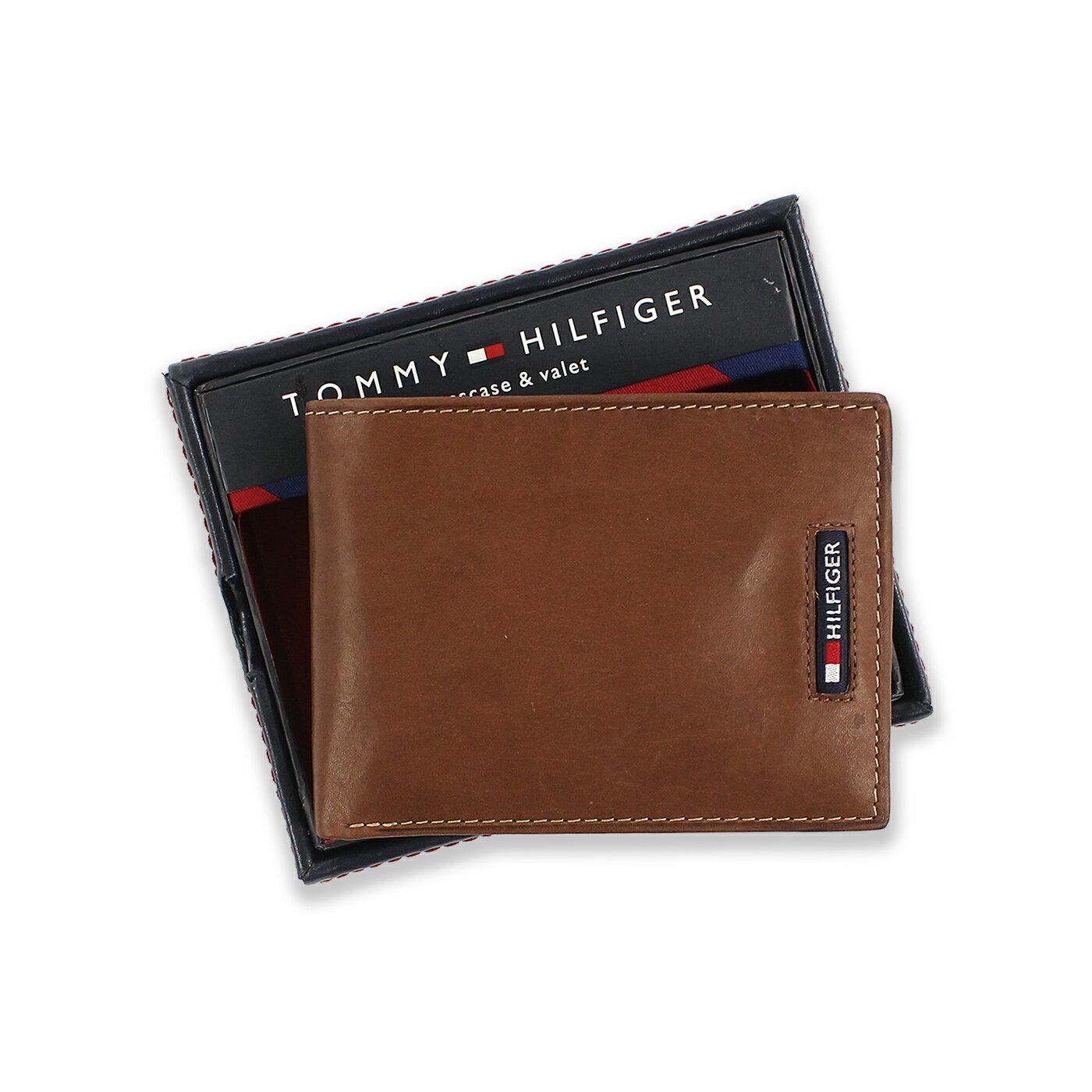 美國百分百【全新真品】Tommy Hilfiger 真皮 皮夾 皮包 卡片 TH 短夾 錢包 男 咖啡色 C799