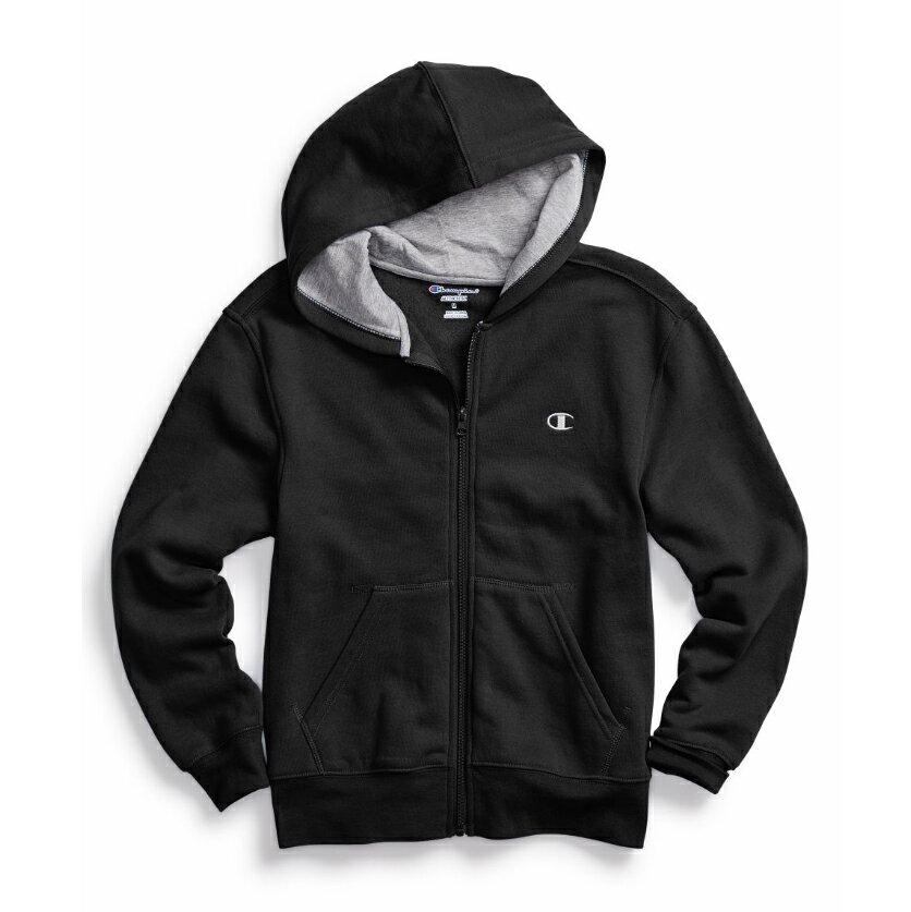 美國百分百【全新真品】Champion 冠軍 棉質 連帽 外套 長袖 刷毛 上衣 黑色 XS S號 C821