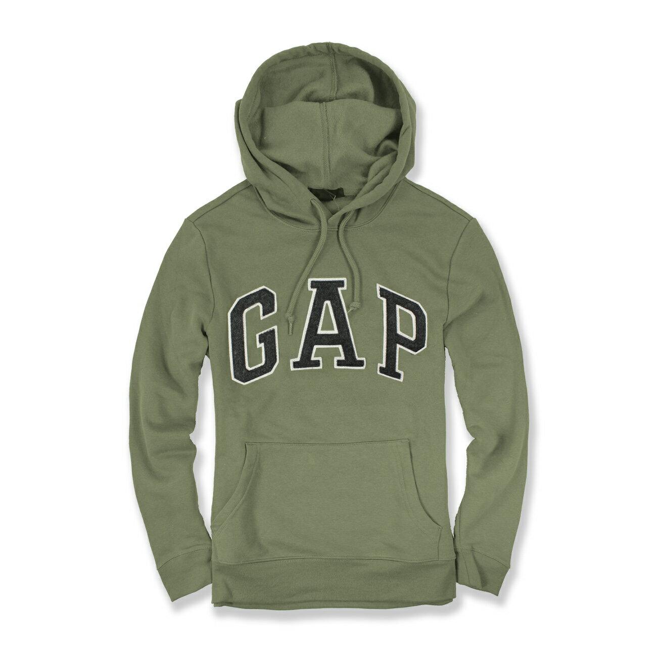 美國百分百【全新真品】GAP 帽T 上衣 外套 長袖 連帽 LOGO 貼布 軍綠 深灰字 現貨 男 XS S號 E461