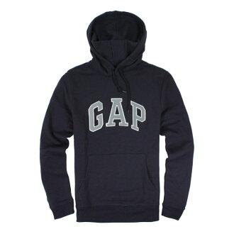 美國百分百【全新真品】GAP 帽T 上衣 外套 長袖 連帽 LOGO 貼布 深藍色 藍灰字 男衣 S號 E461