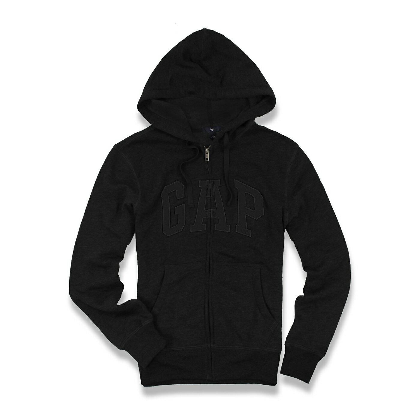 美國百分百【全新真品】GAP 外套 上衣 長袖 連帽 LOGO 貼布 刷毛 黑色 黑字 現貨 男 S M號 E927