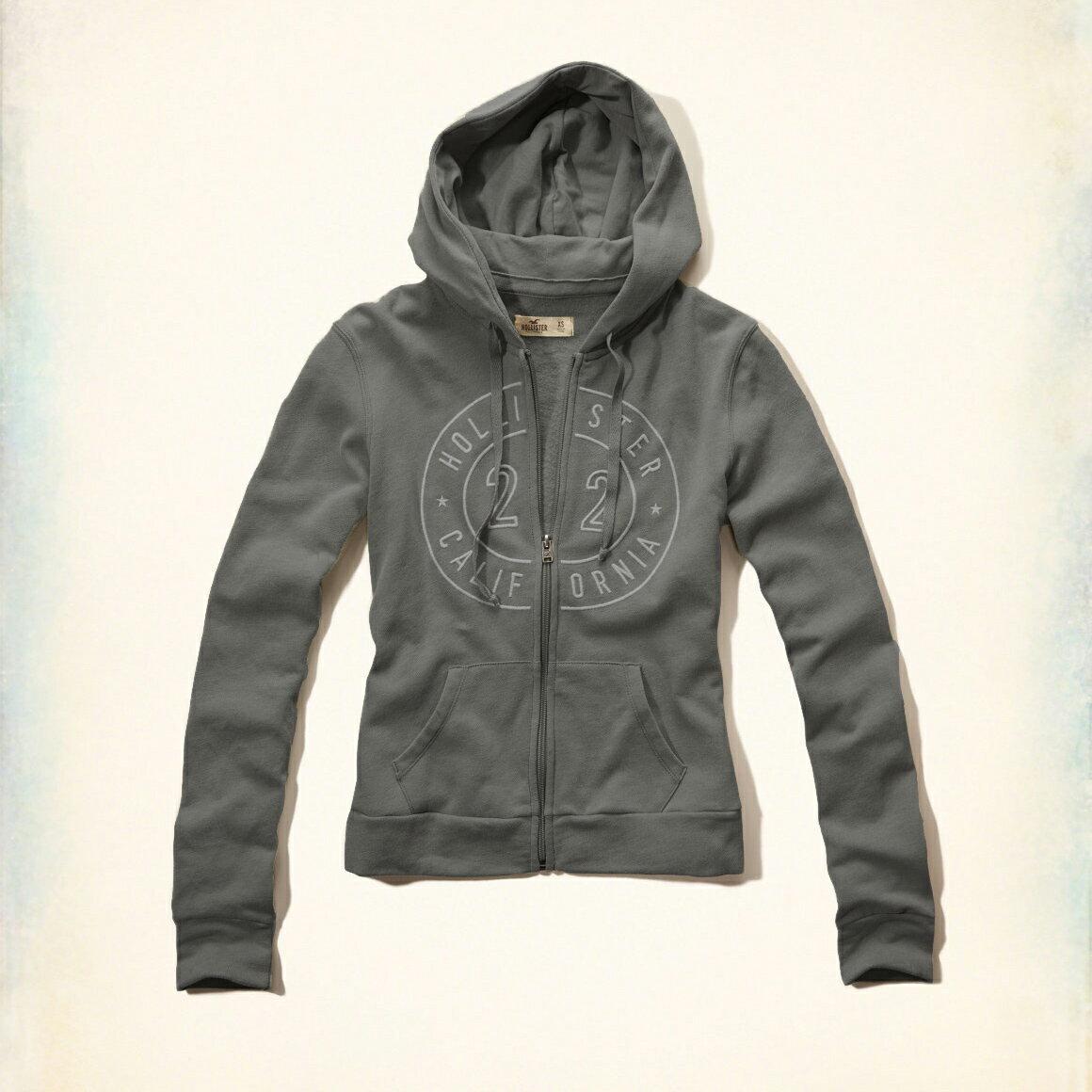 美國百分百【全新真品】Hollister Co. 外套 HCO 連帽 長袖 夾克 海鷗 刷毛 灰色 女 特價 XS號 F822