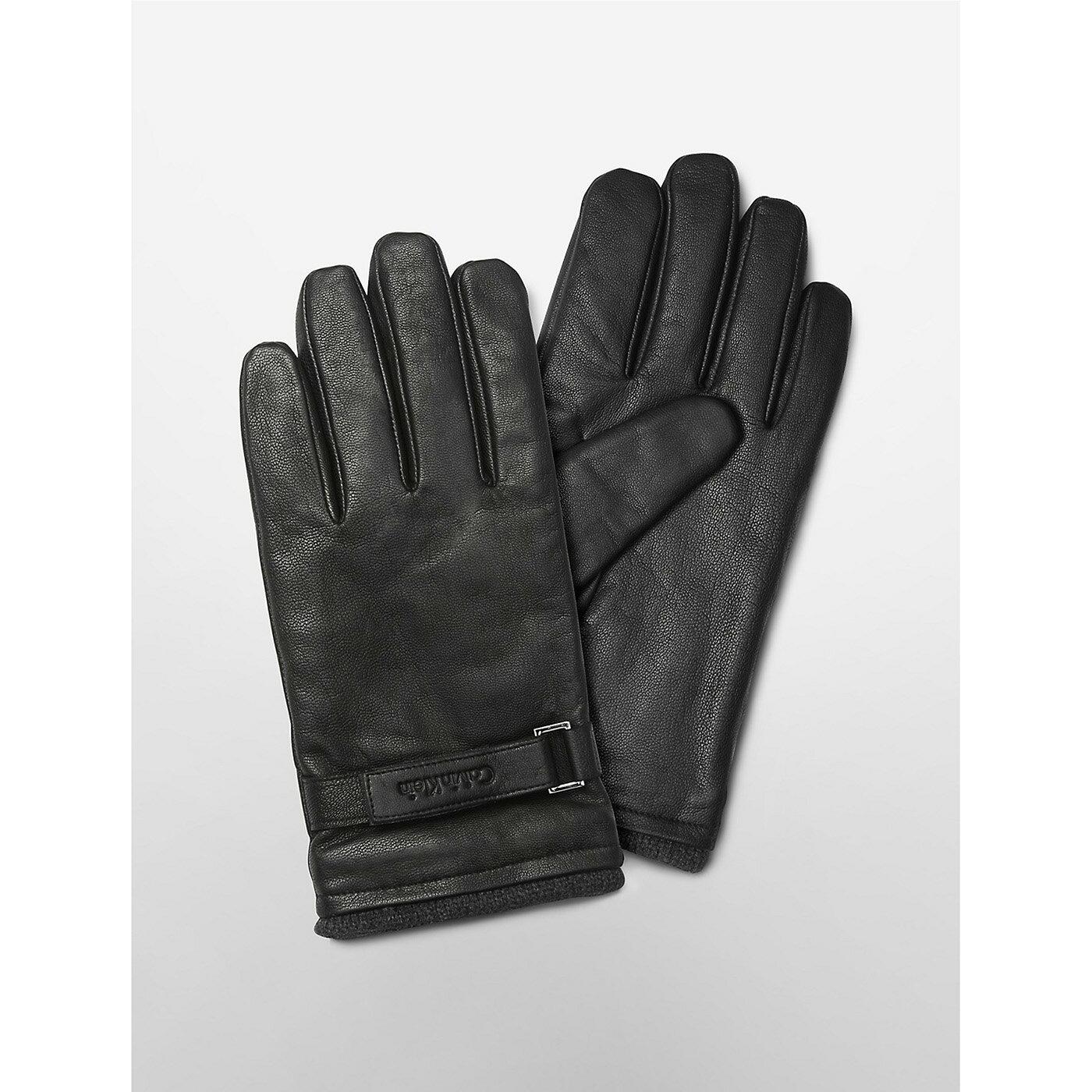 美國百分百【全新真品】Calvin Klein 手套 CK 防寒 保暖 皮質 皮手套 配件 騎士 男 黑 S號 F827
