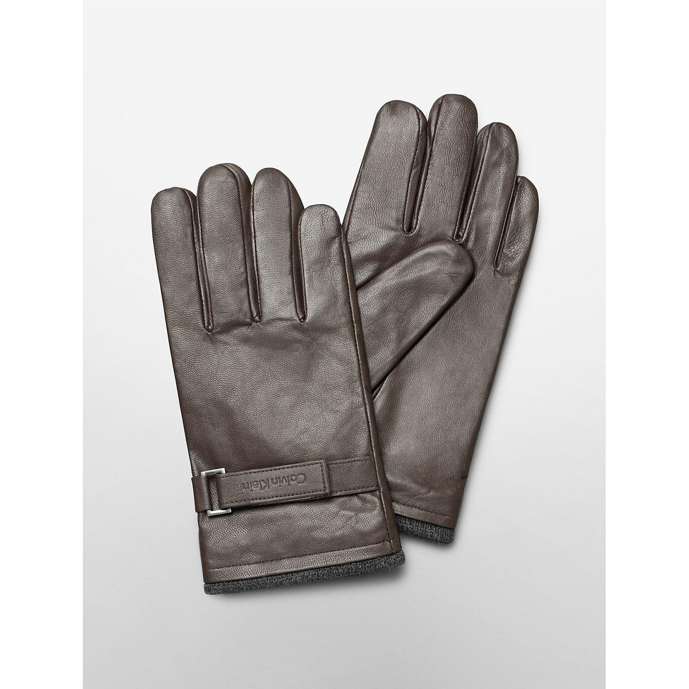美國百分百【Calvin Klein】手套 CK 防寒 保暖 皮質 皮手套 配件 騎士 男 咖啡 S M L號 F827