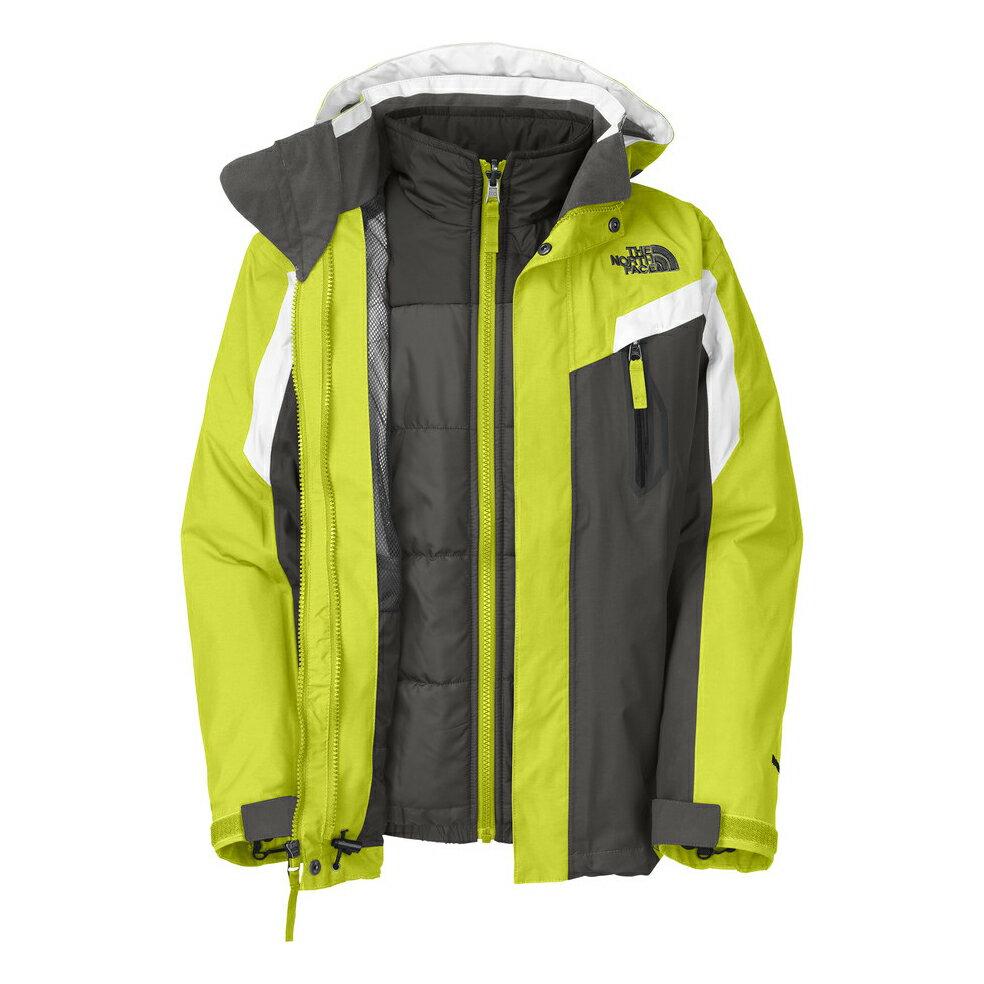 美國百分百【The North Face】防風 連帽 外套 TNF 保暖 防水 防寒 兩件式 北臉 亮綠 S號 F830