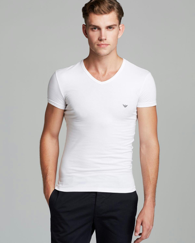 美國百分百【全新真品】Emporio Armani T恤 V領 短袖 logo T-shirt EA 素面 白 XS號 F836