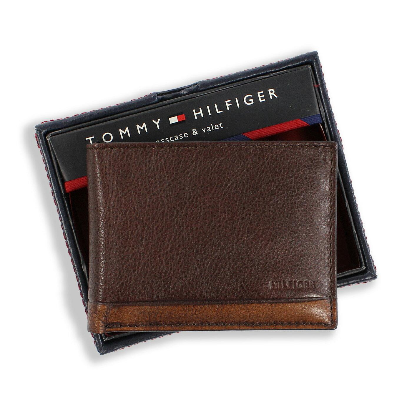 美國百分百【全新真品】Tommy Hilfiger 真皮 皮夾 皮包 卡片 TH 短夾 錢包 復古洗舊 咖啡色 F837