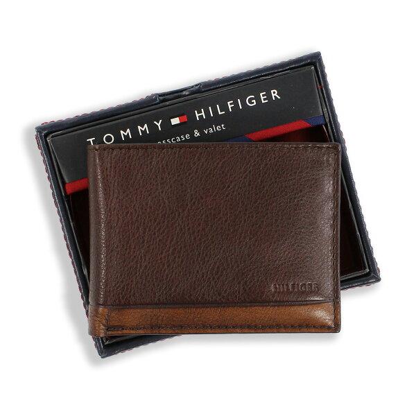 美國百分百:美國百分百【全新真品】TommyHilfiger真皮皮夾皮包卡片TH短夾錢包復古洗舊咖啡色F837
