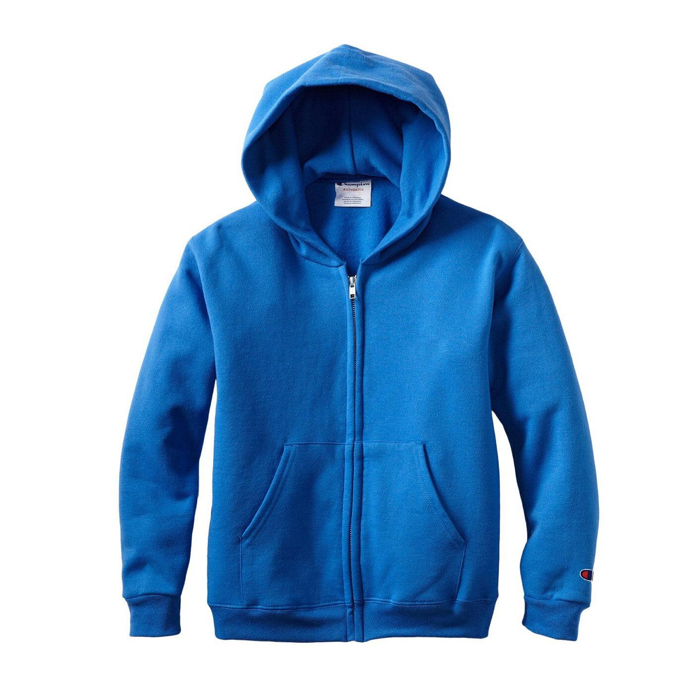美國百分百【全新真品】Champion 冠軍 棉質 連帽 外套 長袖 刷毛 上衣 藍色 S號 特價 F840