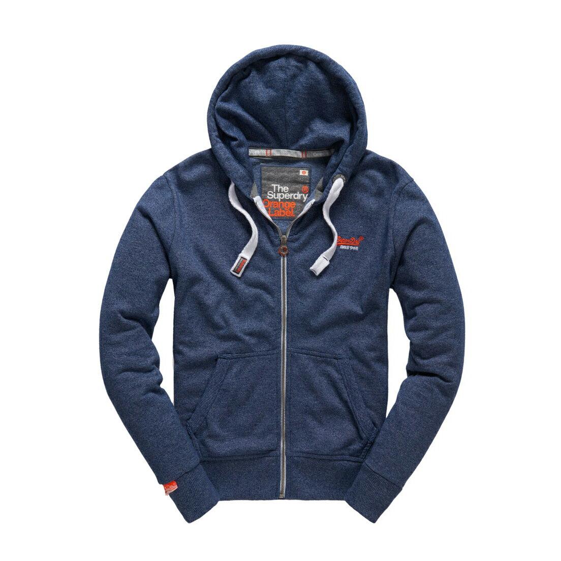 美國百分百【全新真品】Superdry 極度乾燥 連帽 外套 夾克 帽T 刷毛 拉鍊 經典款 藏藍色 S M L號 F842