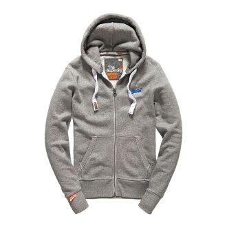 美國百分百【全新真品】Superdry 極度乾燥 連帽 外套 夾克 帽T 刷毛 拉鍊 經典款 灰色 L XL號 F842