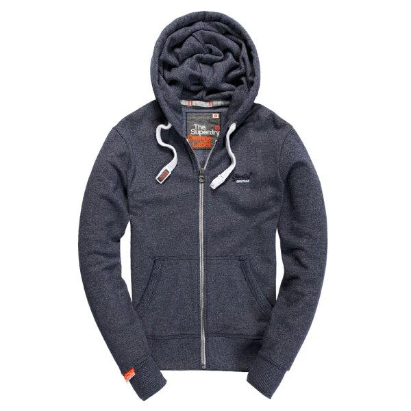 美國百分百:美國百分百【全新真品】Superdry極度乾燥連帽外套夾克帽T刷毛拉鍊經典款藍灰色黑字SML號F842