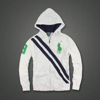 美國百分百【Ralph Lauren】RL 連帽 外套 棉質 夾克 彩帶 大馬 白色 POLO XXS號 女 F843