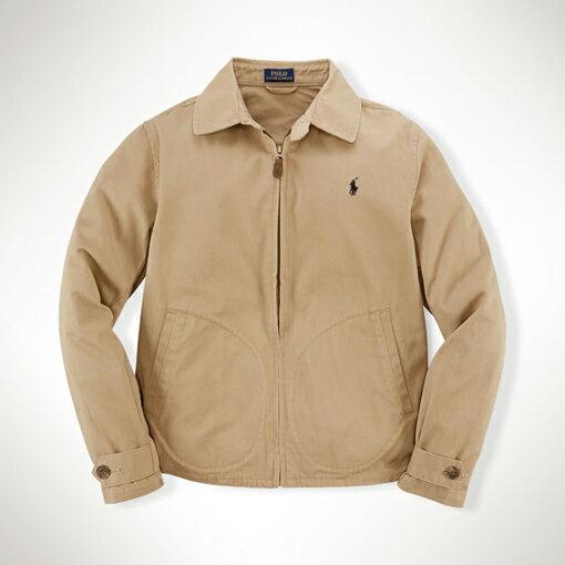 美國百分百:美國百分百【全新真品】RalphLaurenRLpolo騎士外套擋風夾克短大衣卡其色S號F846