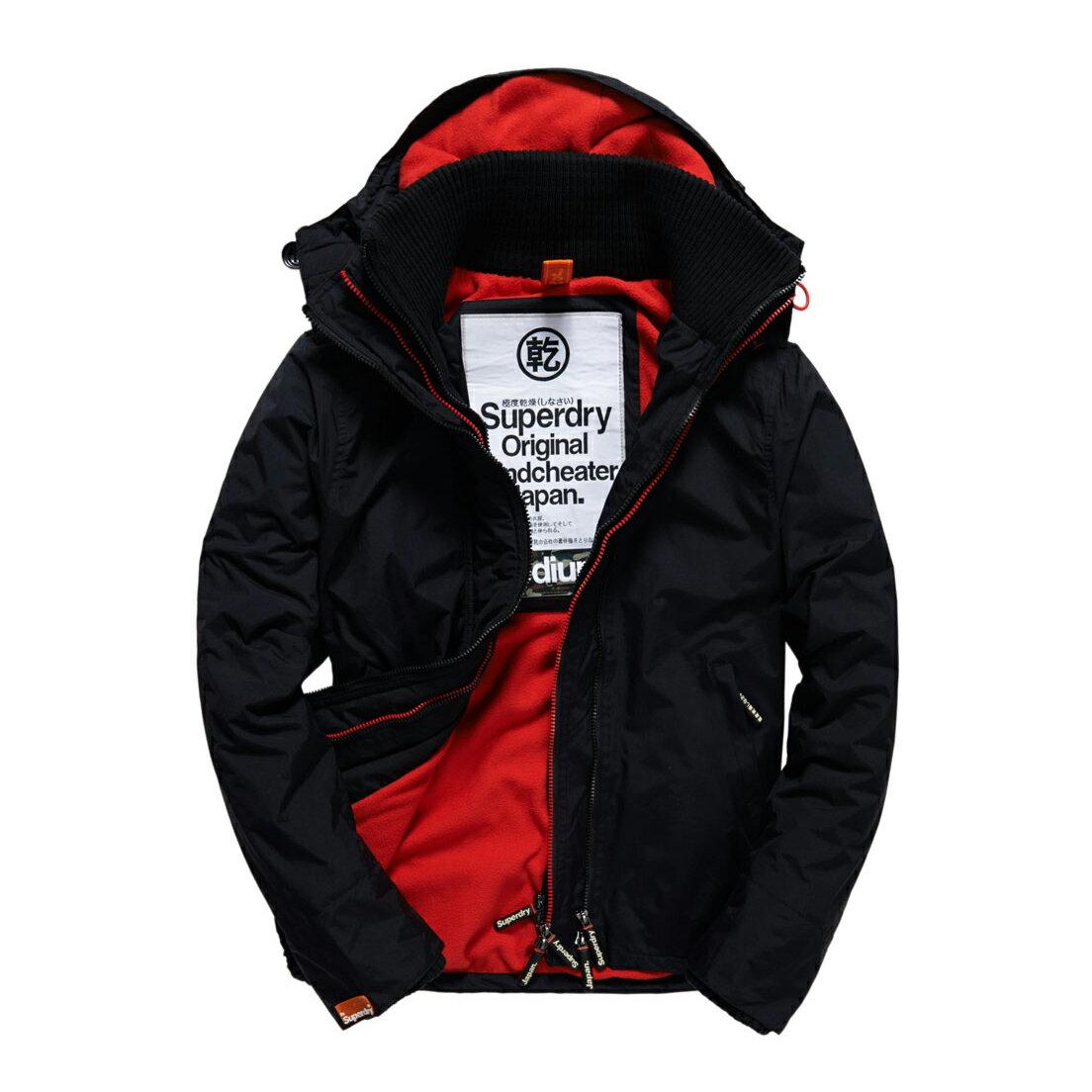 美國百分百【全新真品】Superdry 極度乾燥 風衣 連帽 外套 防風 夾克 刷毛 黑色 紅色 M L XL XXL號 F853