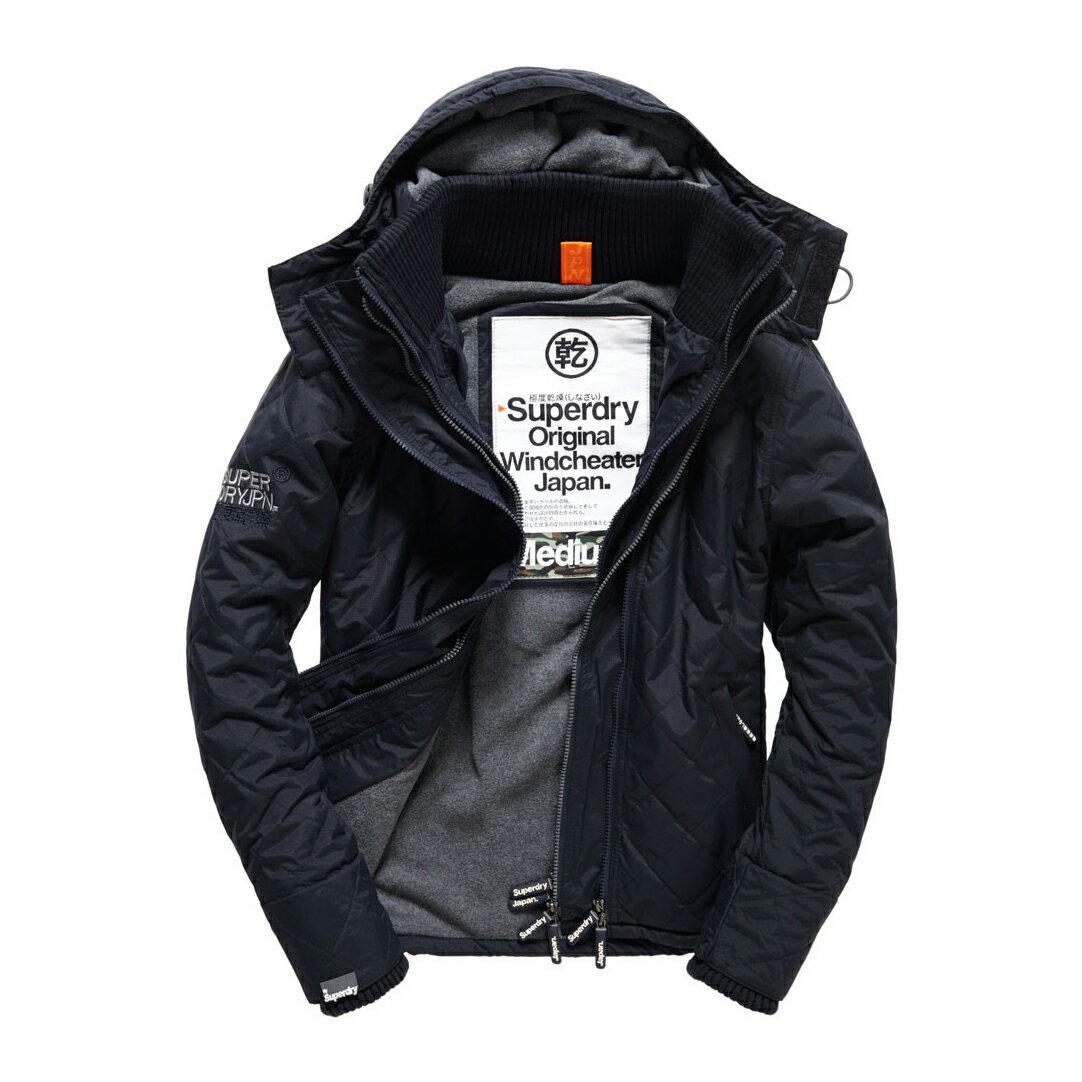 美國百分百【全新真品】Superdry 極度乾燥 風衣 連帽 外套 極地 防風 夾克 刷毛 菱格 深藍 灰色 S號 F854